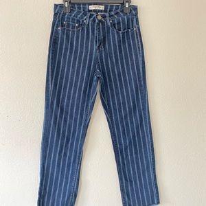 Indigo Rein Blue & white pinstripe crop pants
